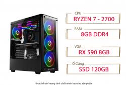 PC QA Gaming 15 AMD Ryzen 7 2700 RX 590 8GB Ram 8GB 120GB SSD